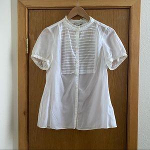 BANANA REPUBLIC • Short Sleeve Silk Blouse -Size L